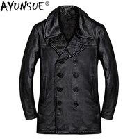 AYUNSUE Genuine Cow Leather Jacket Men Autumn Winter Coat Men Windbreaker Plus Size Leather Jackets Veste Cuir Homme KJ1929