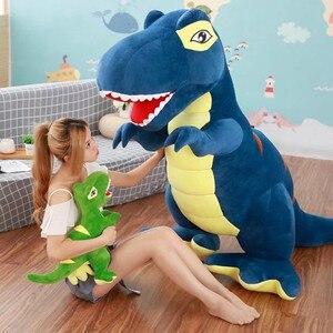 Image 1 - 60 センチメートル/90 センチメートル漫画の恐竜ぬいぐるみ趣味巨大なティラノサウルスレックスぬいぐるみ人形ぬいぐるみのおもちゃ子供男の子クラシックのおもちゃ