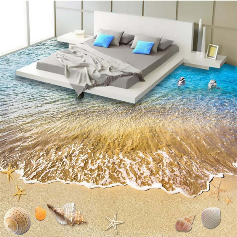 beibehang Summer beach floor floor murals wall stickers 3D wallpaper for living room PVC floor self-adhesive papel de parede 3D  beibehang summer beach floor floor murals wall stickers 3d wallpaper for living room pvc floor self adhesive papel de parede 3d