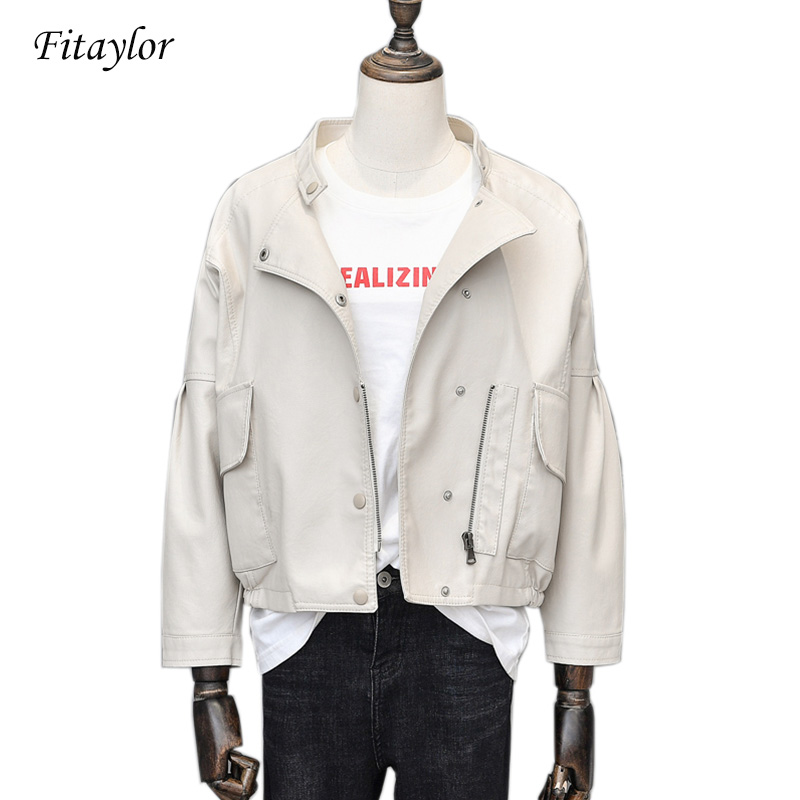 Fitaylor Punk Short Pu   Leather   Jacket Women Slim Zipper Faux   Leather   Jacket Single Breasted Black Pink   Leather   Coat Female