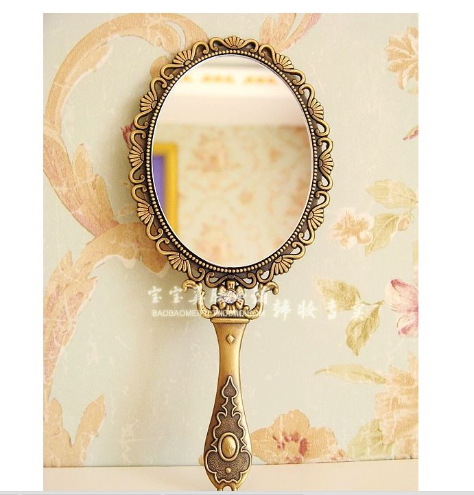 Large Vintage Rose Of Handle Bronze Mirror Hand Mirror