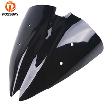 POSSBAY Motorcycle Windshield Deflectors for Kawasaki Z1000 2007 2008 2009 Scooter Windscreen Double Bubble Wind Deflectors black motorcycle motorbike windshield double bubble windscreen wind deflectors air flow for honda cbr1000rr cbr 1000rr 2004 2007