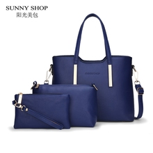 SUNNY SHOP 3 Bags Set Luxury Handbags Women Bags Designer American Style Women Bag Purses And