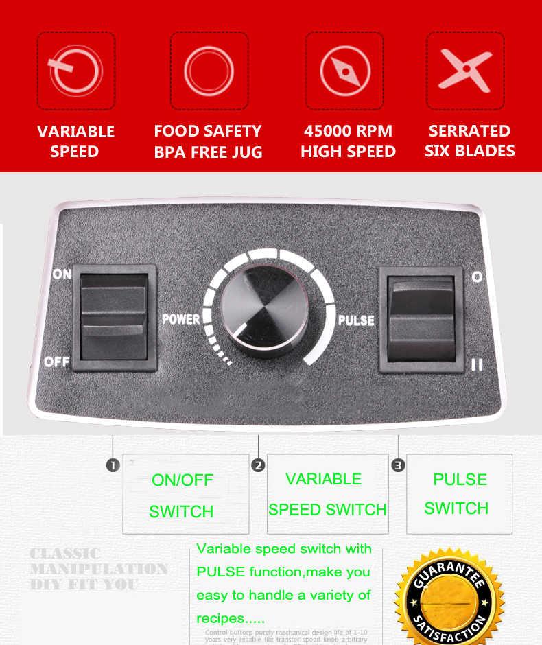 RU только 3HP 2200 Вт 2L BPA бесплатно Профессиональный Домашний мощный блендер миксер соковыжималка кухонный комбайн gree смузи liquidiser