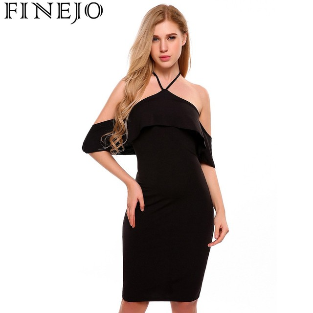 c33f67dfddcf FINEJO Fashion Sexy Summer Women s Dress Casual Halter Short Sleeve Off- shoulder Ruffle Solid Slim Design Pencil Dress Vestidos