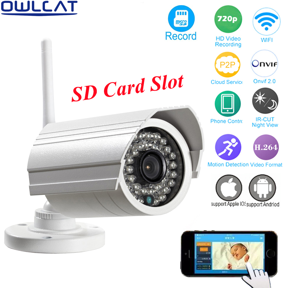 OwlCat CMOS Outdoor Waterproof Bullet WIFI IP Camera SD Card 1080P HD Wireless External Survelliance Security Camera P2P Audio wistino cctv camera metal housing outdoor use waterproof bullet casing for ip camera hot sale white color cover case