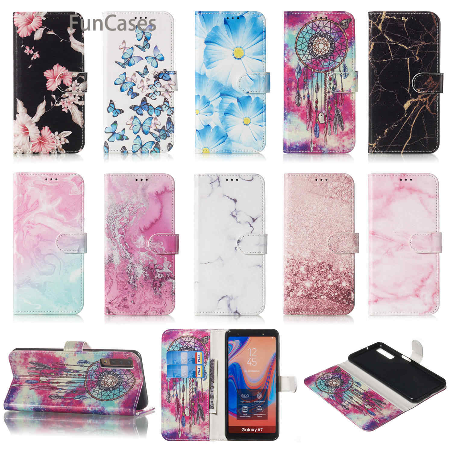 Pink PU Flip Case For Samsung A10 Silicone Cases Covers Samsung A750 A9 2018 A310 A3 2017 A510 A5 A20 A30 A40 A50 A60 A70 A20E