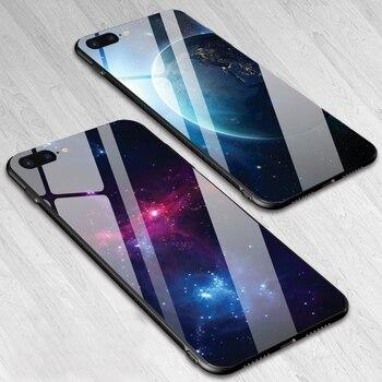 4c8a72259c3 Funda de teléfono de vidrio templado para iphone 7 8 para iphone 7 plus 8  Plus planeta estrellas cubierta trasera