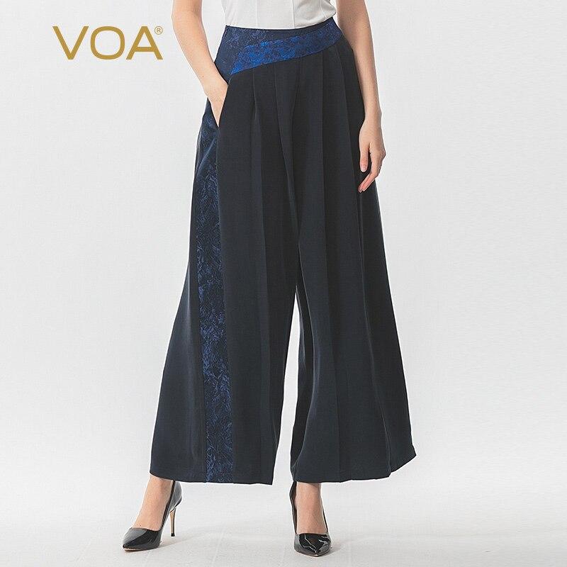 VOA Navy Blue 30m Heavy Weight Silk Irregular Splicing Mid-Waist Pocket   Wide     Leg     Pants   women K1165