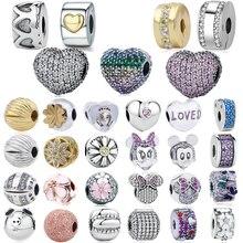 Подлинные 925 пробы серебряные амулеты цветение, Любовь Сердце Зажимы, подходят Pandora браслет для женщин DIY ювелирные изделия