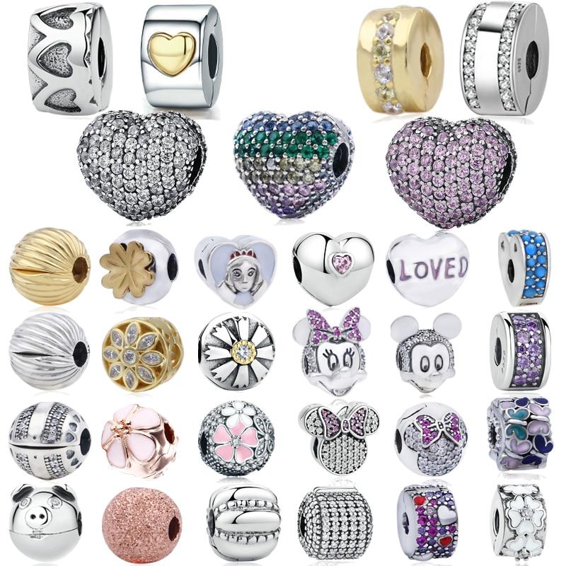 Genuine 925 Sterling Silver Charms Bloom,Love Heart Clips, Fit Original Pandora Bracelet Women DIY Jewelry