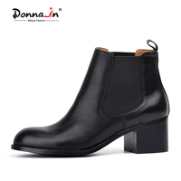 Donna In Classic Calf Leather Chelsea Boots Round Toe Low Heel Woman Short Boots Leather Lining
