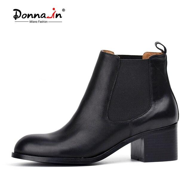 Donna-в классическом телячьей кожи ботинки челси на низком каблуке с круглым носком женские полусапожки кожа и носок женская обувь