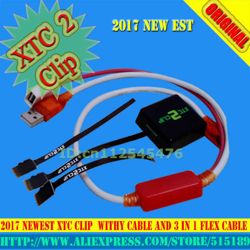 gsmjustoncct 2017 Version xtc 2 clip xtc clip Box with 3 In 1 Flex Cable with Y Type Cable for HTC