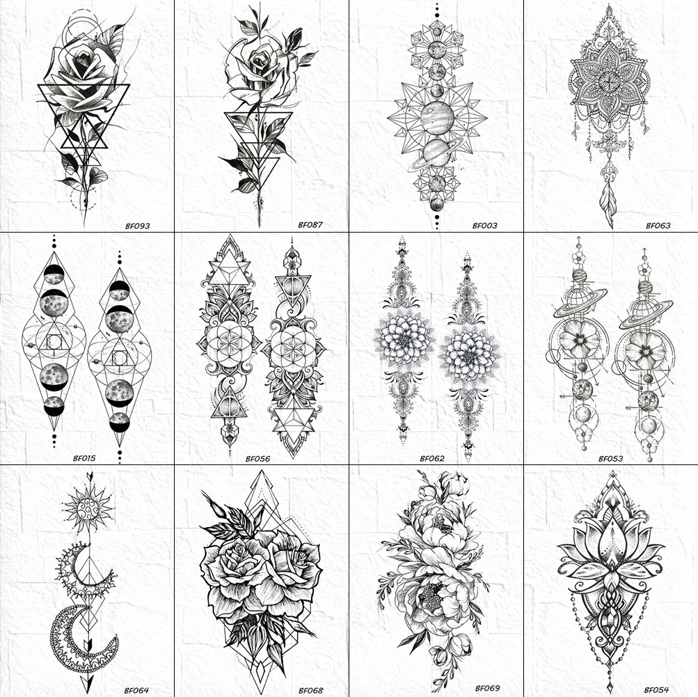 VANKIRS Black Bracelet Universe Tattoos Temporary Rose Women Arm Tattoos Stickers Girls Geometry Henna Flower Chain Tatoo Paper