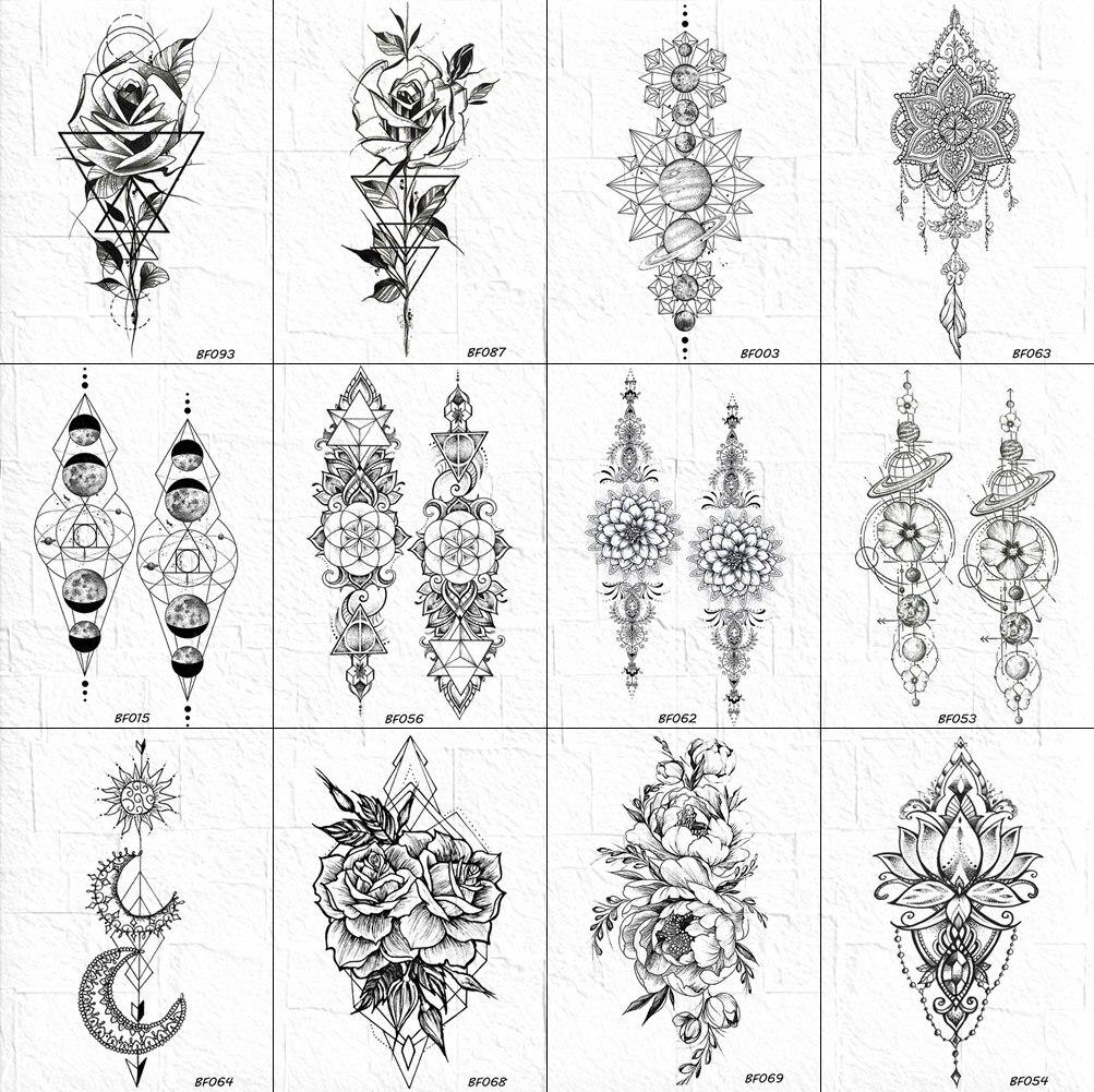VANKIRS Black Bracelet Universe Tattoos Temporary Rose Women Arm Tattoos Stickers Girls Geometry Henna Flower Chain Tatoo Paper