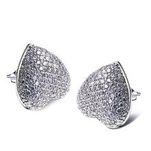 Lindo y Romántico del corazón del Amor stud pendientes con AAA CZ crystal blanco del color del oro La mejor amante regalo para ella de pendientes