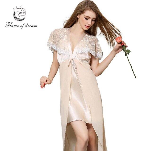 Long satin nightgown Women night dress sleepwear Long silk nightgowns  Ladies Silk Nightwear Home Dress Ropa d96de4d70