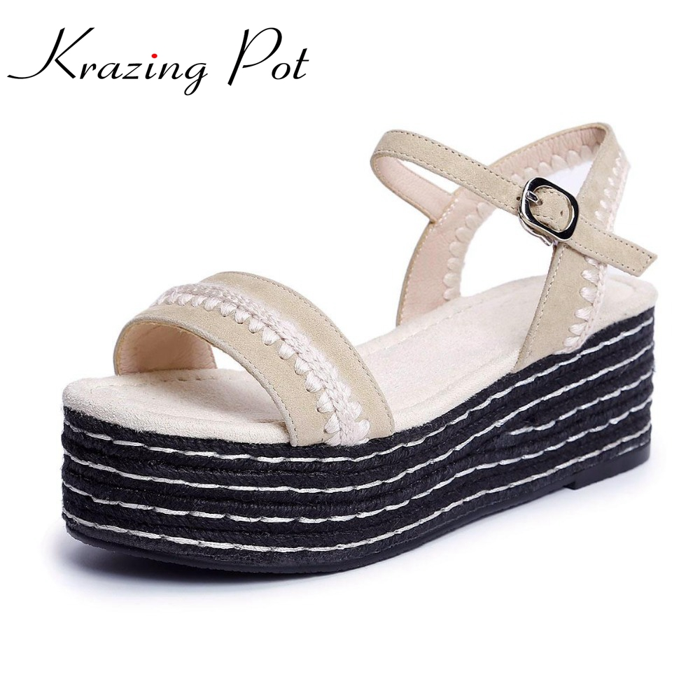 Krazing Pot summer brand shoes peep toe wedges platform women sandals thick high heels classics mixed colors increased shoes L85 lucyever women casual peep toe shoes thick platform creepers sandals woman fashion wedges high heels stars summer shoes