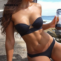 XREOUGA Black Strapless Women Sexy Bikini Sets Padded Hollow Underwire Brazilian Push Up Bandage Off Shoulder