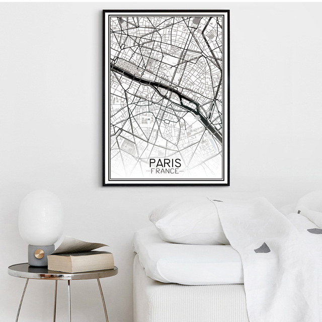 Modern Map Of Paris France Canvas Art Print Poster Wall Picture For - Modern map of paris