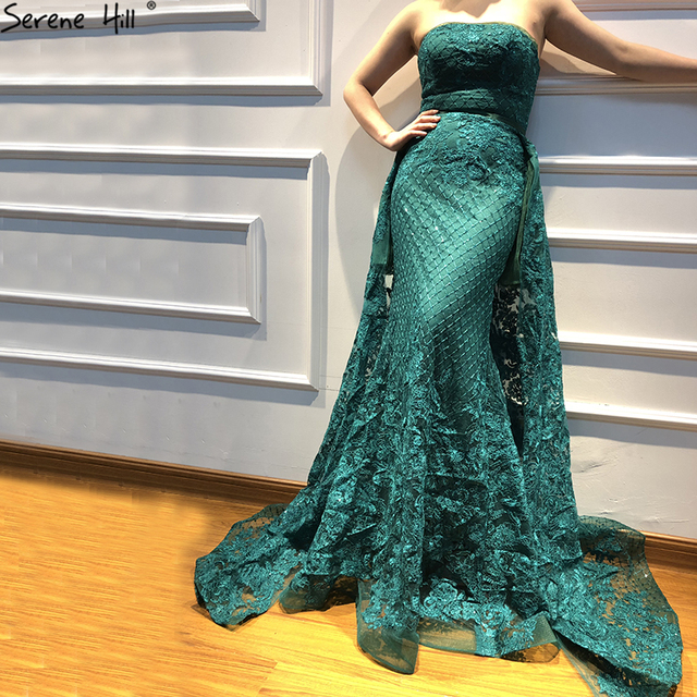 Luxury Dark Green Lace Sequins Strapless Evening Dresses with Train Long Formal Dress Party Vestido Dubai Robe De Soiree BLA6361