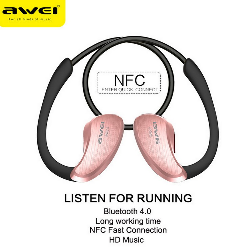 Awei A885BL For xiaomi NFC HiFi Waterproof Wireless Bluetooth Headset V4.0 Earphones Music Voice control In ear Earbuds with Mic awei q5i in ear earphones with mic gold