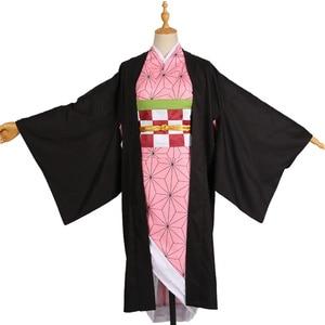 Image 4 - Hot Nieuwe Anime Demon Slayer: Kimetsu Geen Yaiba Cosplay Kamado Nezuko Vrouw Japanse Kimono Cosplay Kostuum