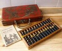 Изысканный китайский классический ручной работы Прекрасный деревянный дракон феникс Абакус и коробка