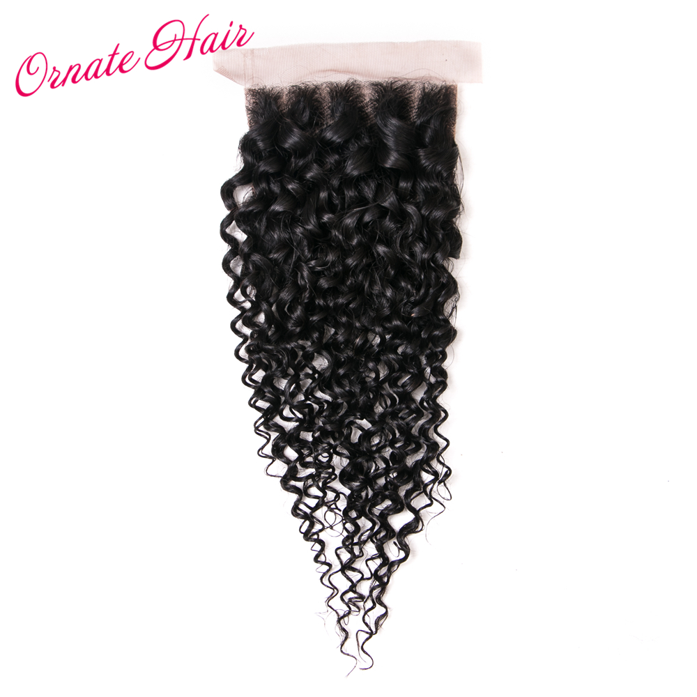 Ornate Mongolian Kinky Curly Hair Lace Closure 4*4 Free Part Lace Closure Human Hair Weave Natural Color Chiusura Non Remy