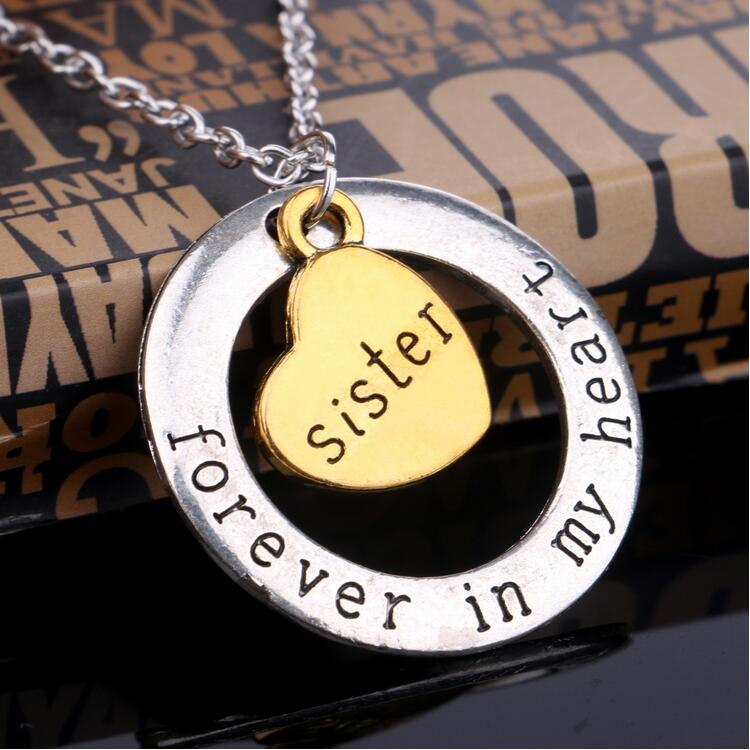 Fashion Brother Forever In My Heart Family Member Gifts Words Round Sister Love Pendant Necklace Women Men Jewelry Whole Necklaces From