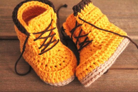 Baby Boots Handmade Shoes Crochet First-Walker Infantwarm Yellow 0-12M Knit Custom Tall