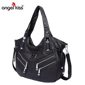 Image 3 - Angelkiss kobiety torebka PU skórzane torby kobiet kluski torba na ramię crossbody Top uchwyt torebki dużego ciężaru torba Bolsa