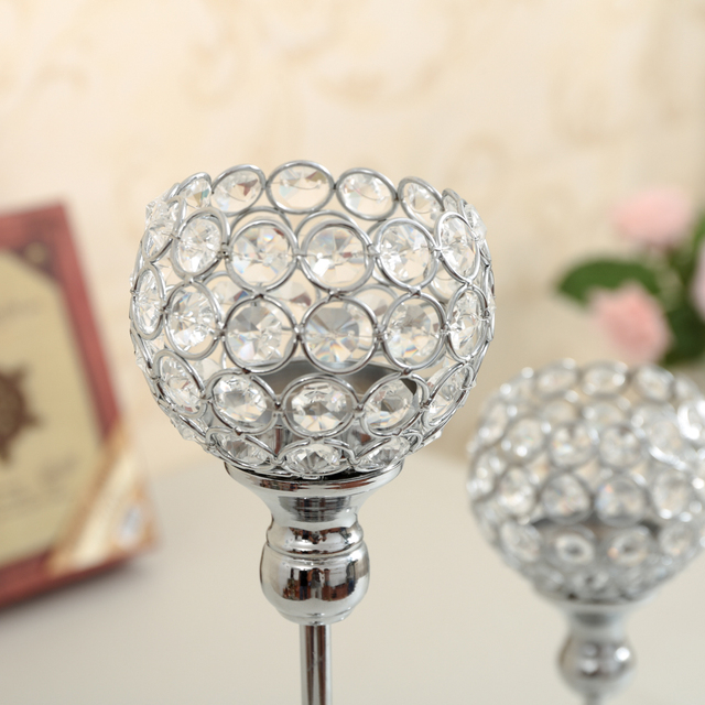 Crystal Candle Holders Set Metal Silver Candlestick Wedding Candle Stand Centerpieces Christmas Home Decoration Candelabra
