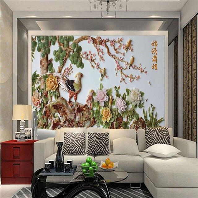 Beibehang 3d Bodenbelag Tapeten Wohnkultur Pfingstrose Plum Jade
