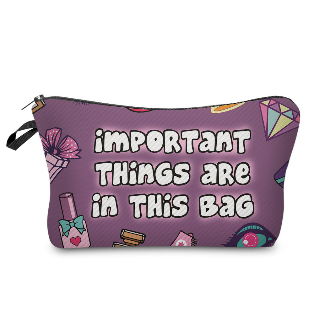 """I Like My Eyelashes"" Printed Makeup Bag Organizer 6"
