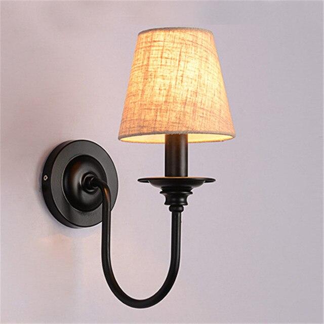 Vintage Style américain tissu abat-jour fer applique chambre étude Loft Sytle bougie applique murale escalier lumière pour léclairage de la maison
