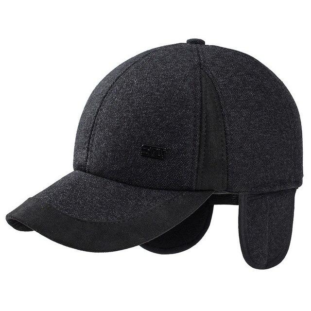 new 56-60cm baseball cap with earflaps elderly men winter faux wool tweed  dad hat 47ae658cb9f