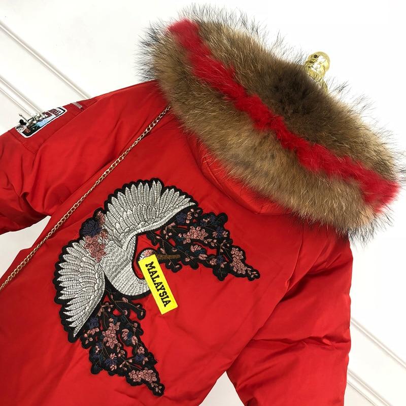Laveur Grand Grande Raton Femmes khaki D'hiver black Veste Red Coréenne Fourrure De Vêtements Bas Col Super Taille Vers Le Épaississement Broderie SzqYqfwI