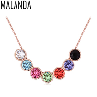 MALANDA Fashion Colorful Round Crystal From Swarovski Necklace Luxury Statement Necklaces Pendants For Women Wedding Jewelry