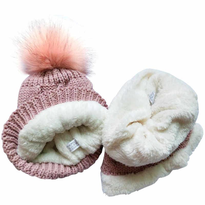 หมวกเด็กฤดูหนาวชุด Plush อบอุ่นหมวกผ้าพันคอหมวกเด็กทารกหมวกเด็กหมวกเด็กหญิงเด็กหมวกผ้าพันคอ- ปลอกคอผู้หญิงผู้ชายหมวก