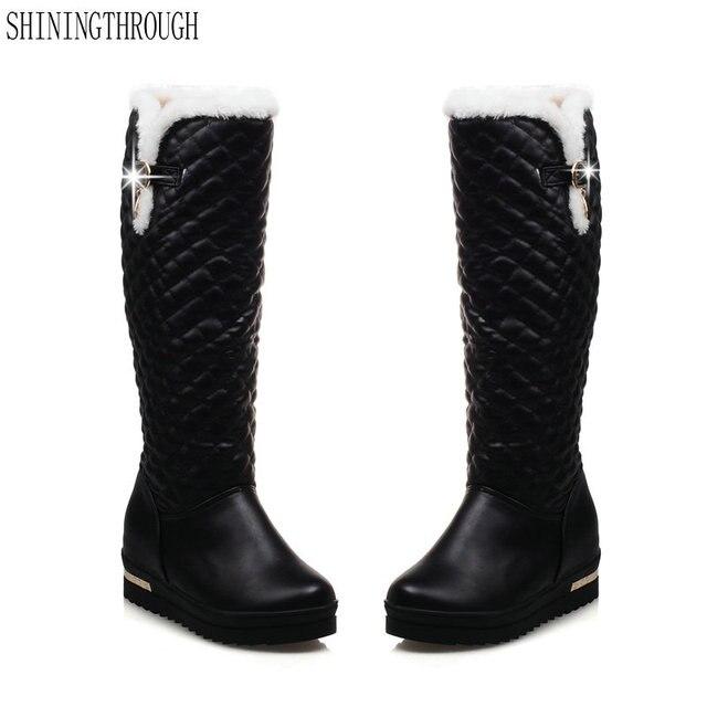 98dc8bcdfde Nouveau sexy femmes bottes mode genou haute bottes med talon bottes femme  hiver neige bottes noir