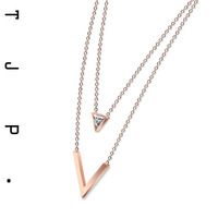 Double Layer Triangle Crystal Rhinestone Chain Necklaces For Women Bijoux Fashion Stainless Steel Choker Necklace Collier