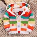 Frete grátis Colorido clássico bebê outerwear menina casaco cardigan camisola 100% algodão camisola