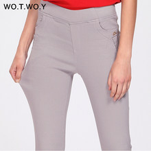 WOTWOY 2018 New Fashion Elastic Waist Pencil Pants Women Casual Basic Slim High Waisted Plus Size Trousers Women Grey Harajuku(China)