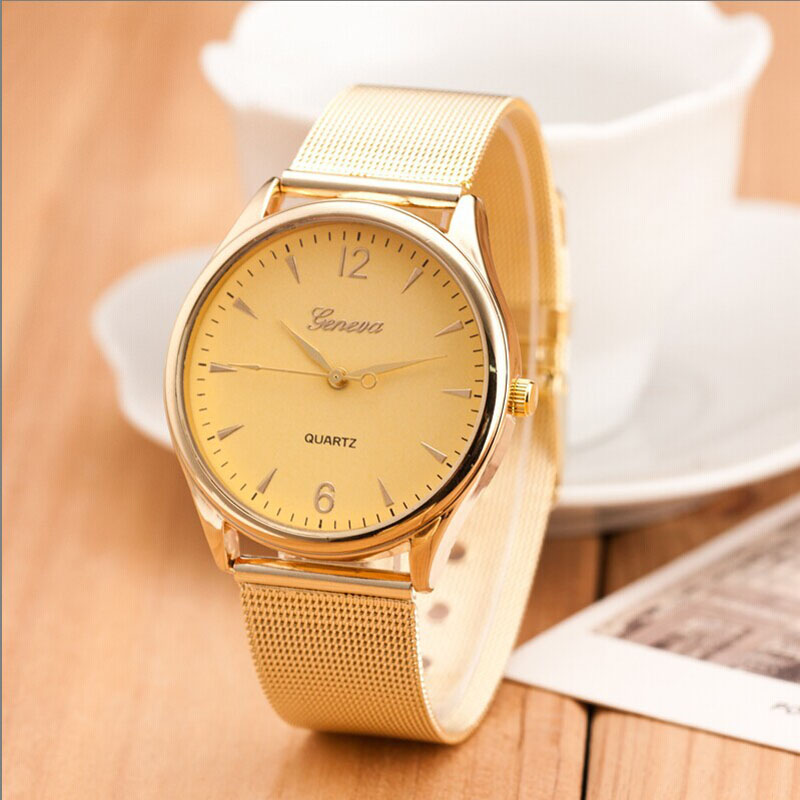 2017 New hot sell Fashion Womens Classic Gold  Quartz Stainless Steel Wrist Watch  Relojes de mujer dignity 8.22 smileomg hot fashion geneva classic gold womens analog quartz stainless steel wrist watch christmas gift free shipping sep 15
