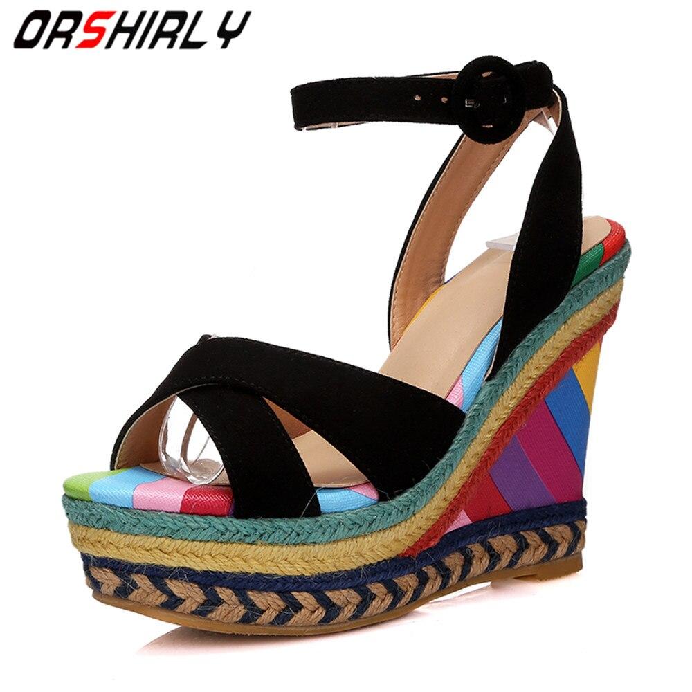 Orshirly Nice nouveau été arc-en-ciel boucle sangle sandales colorées femmes plate-forme talons hauts compensées chaussures habillées femme sandales