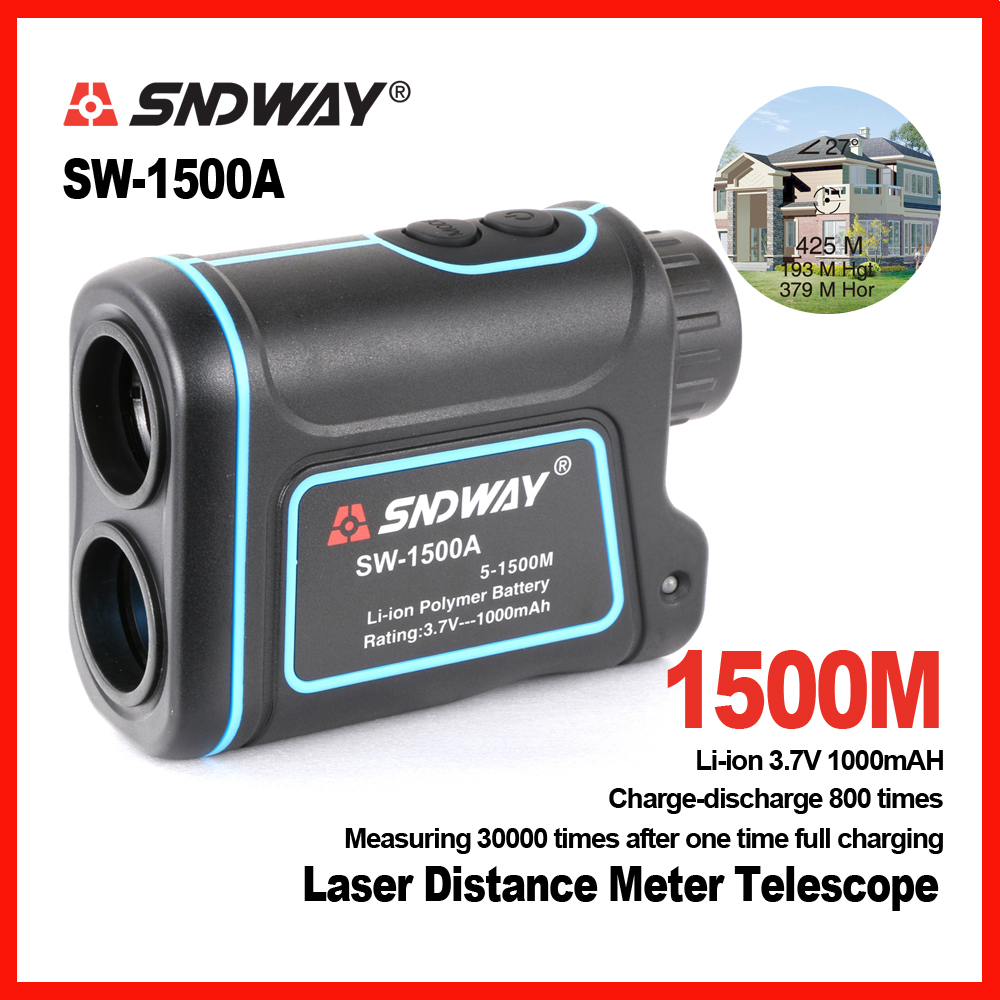New brand SNDWAY 1500m digital font b Laser b font distance meter telescope Golf Hunting Rangefinder