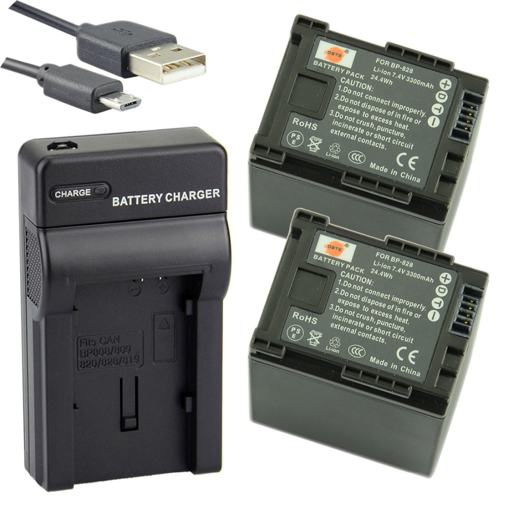 DSTE 2PCS BP-828 Li-ion Battery + UDC26 USB Port Charger for Canon HF-G30 XA20 XA25 Digital Camera
