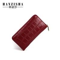 HANZISHA The New Genuine Leather Women Wallet Alligator Zipper Standard Long Wallets Cell Phone Pocket Lady
